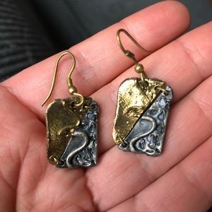 Interesting Two Metal Dangle Earrings